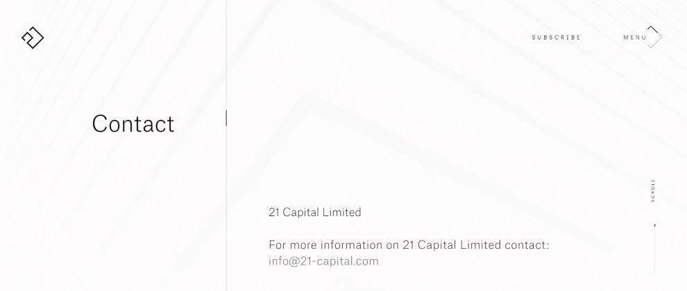 21 Capital website contact page screenshot