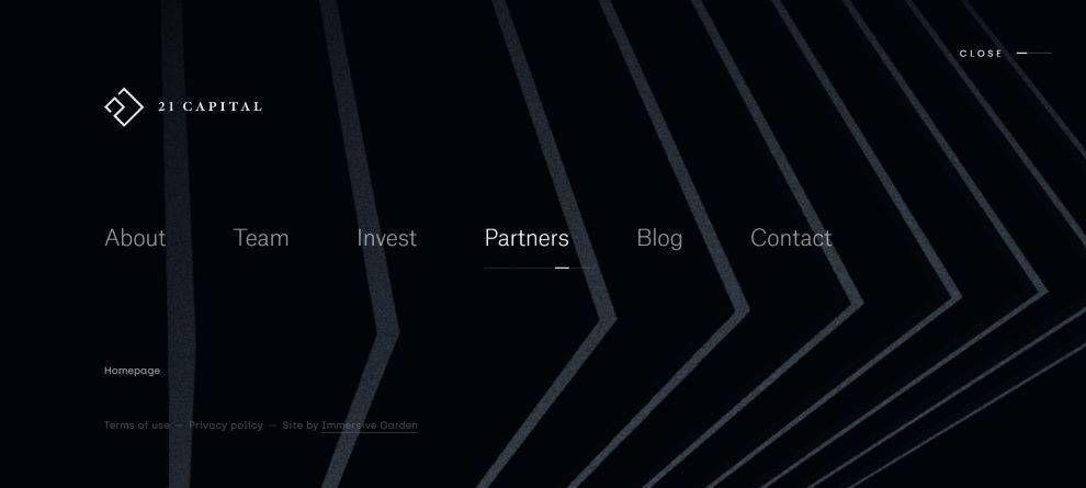 21 Capital website navigation menu screenshot
