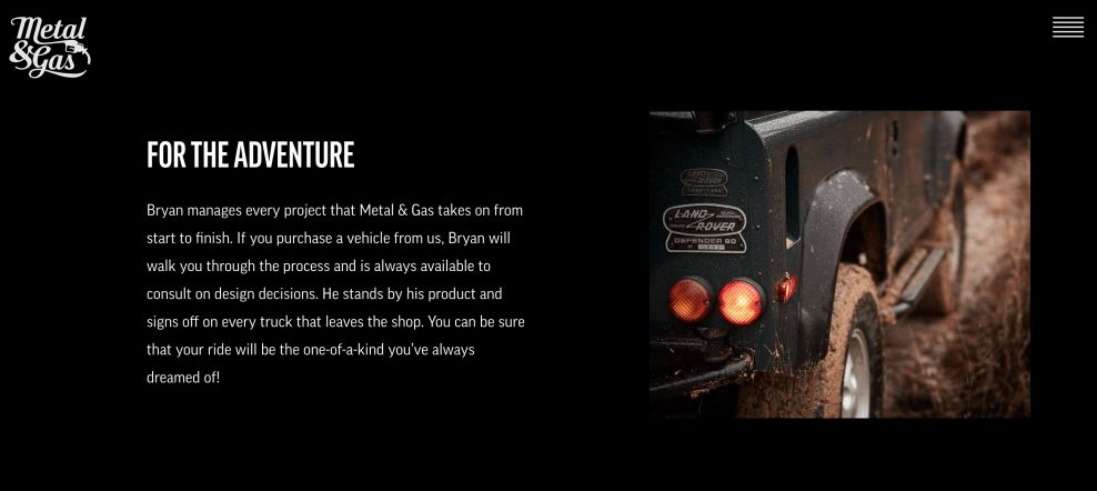 Metal And Gas' Website Engages Visitors With Top-Notch Photography And Immersive Design (slide 5)
