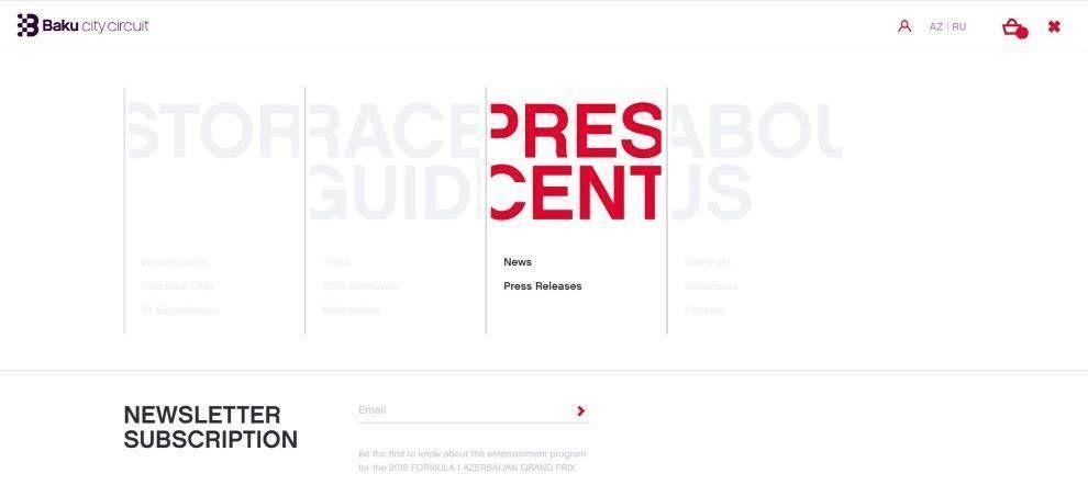 Baku City Circuite main navigation menu page screenshot