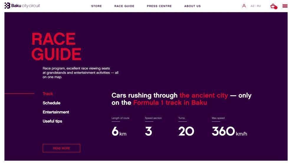 Baku City Circuit race guide section screenshot