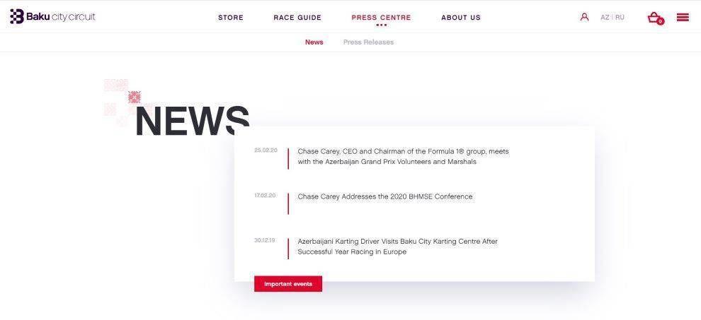 Baku City Circuite news page screenshot