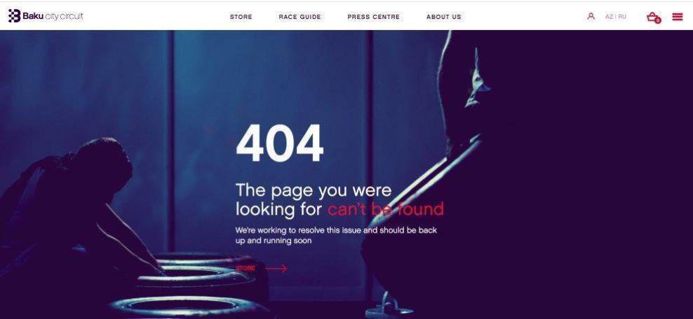 Baku City Circuite 404 page screenshot