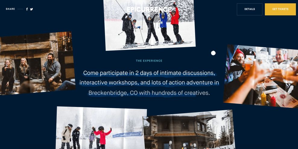 Epicurrence web design copy and messaging
