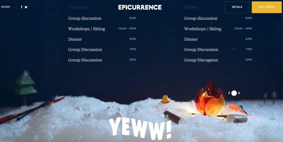 Epicurrence web design footer