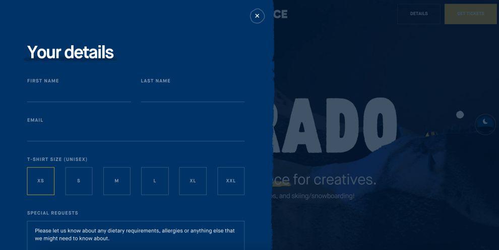 Epicurrence website design form