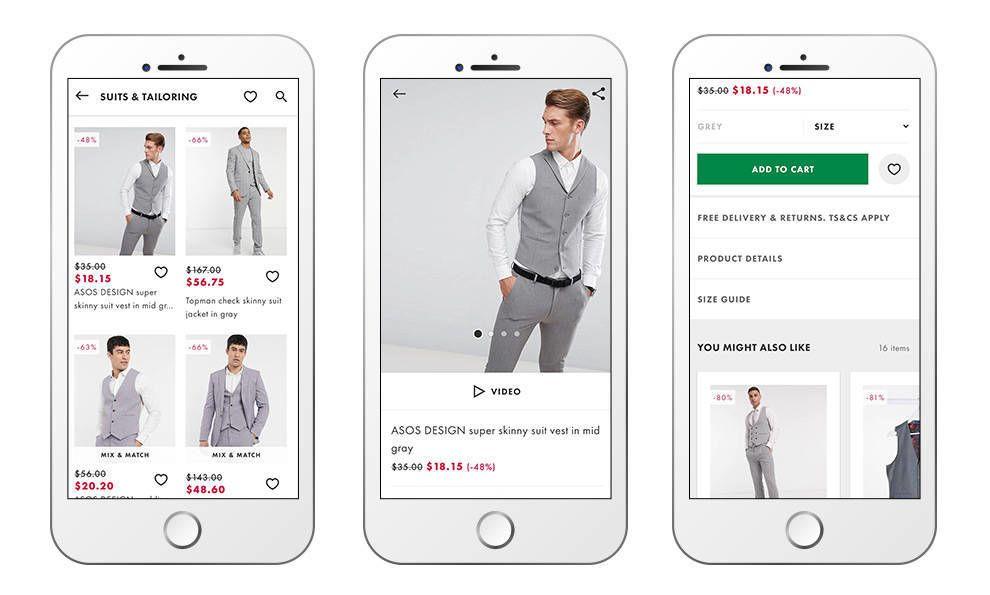 ASOS shopping app design
