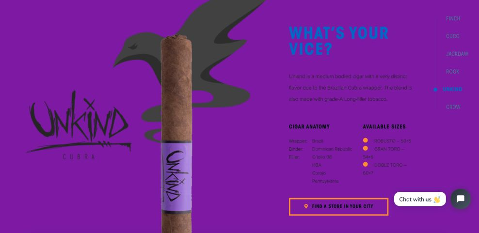 Blackbird Cigar Website Design Homepage