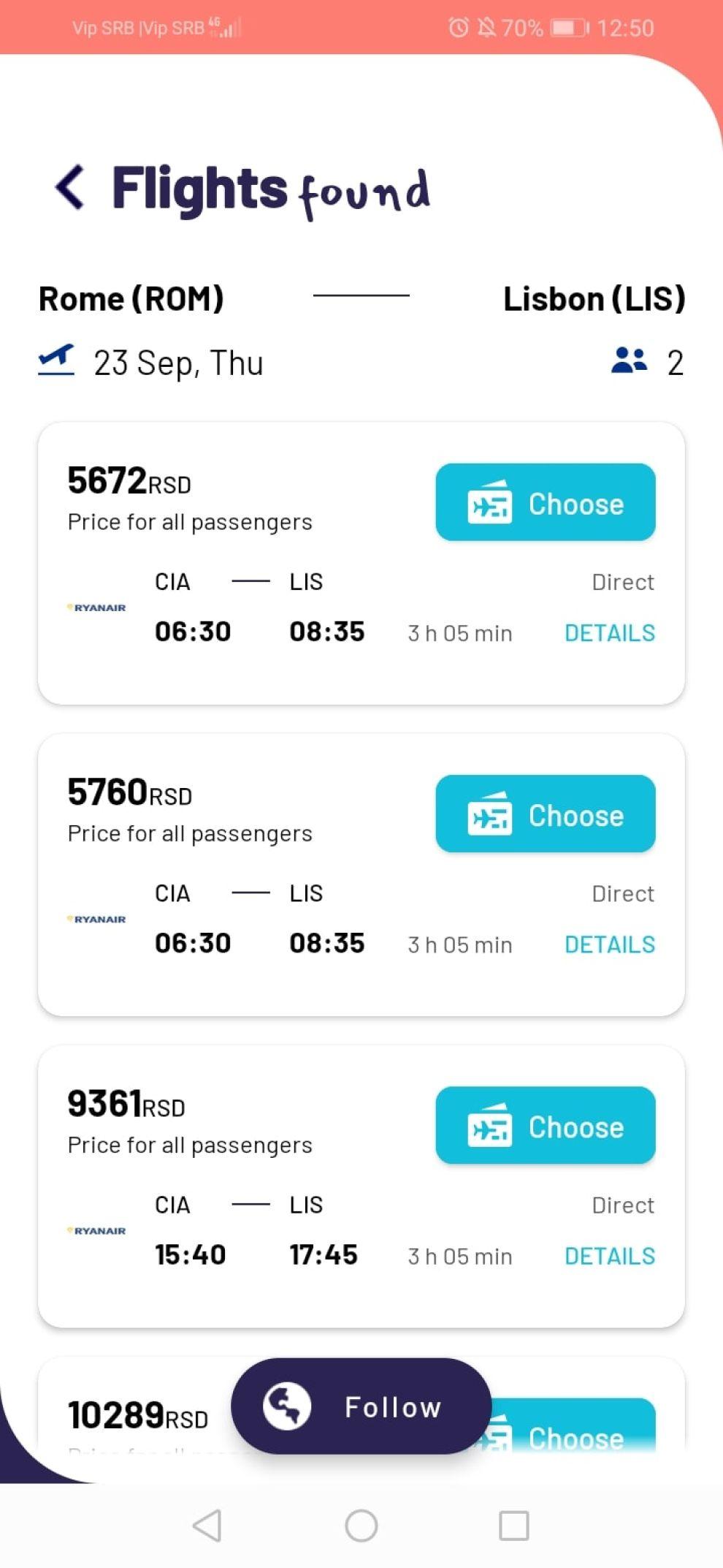 Let's Fly app design