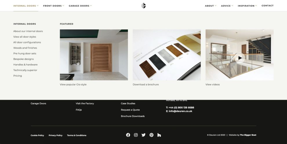 Deuren website design main menu