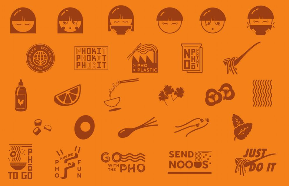 Pho Kit package design text fonts