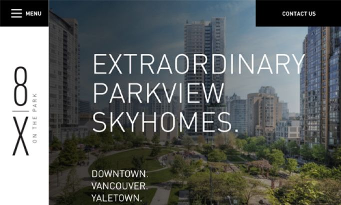 8X on the Park Elegant Website Design