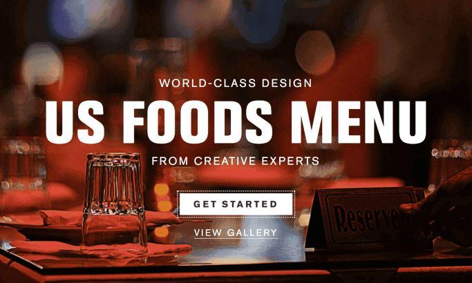 US Foods Menu Amazing Website Design