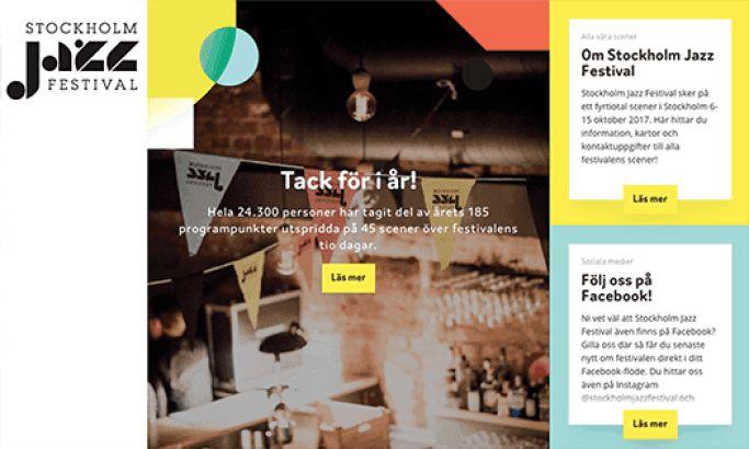 Stockholm Jazz Festival Colorful Website Design