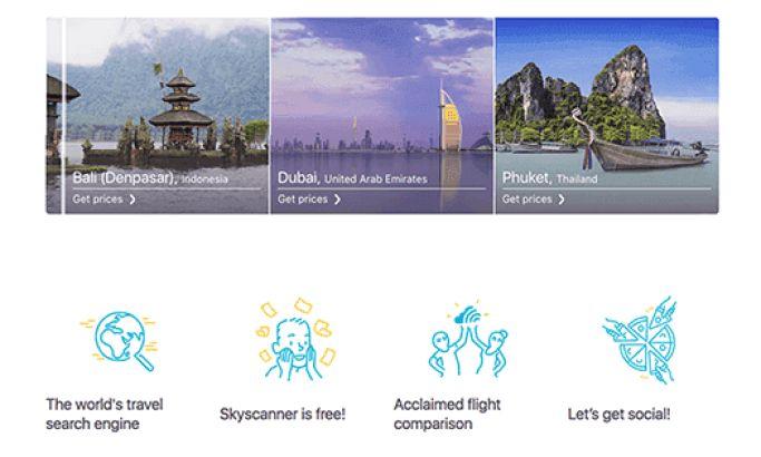 SkyScanner Clean Website Design