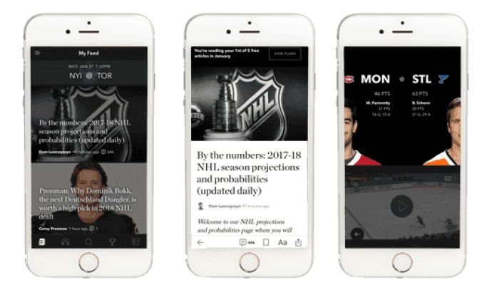 The Athletic Engaging App Design