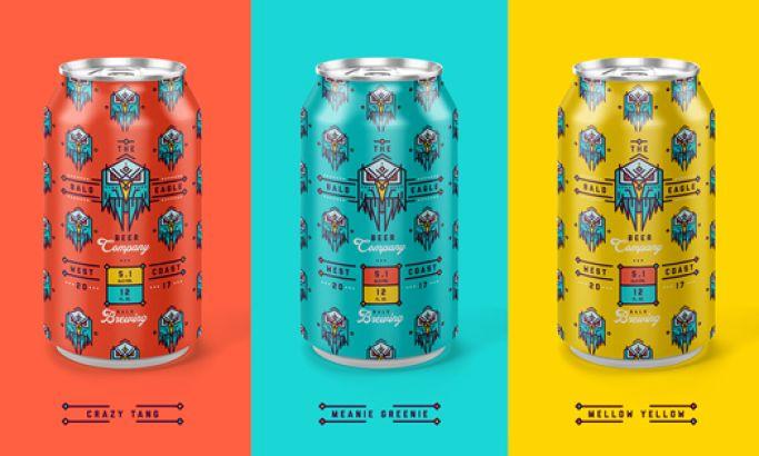 Bald Eagle Beer Co. Illustrated Package Design