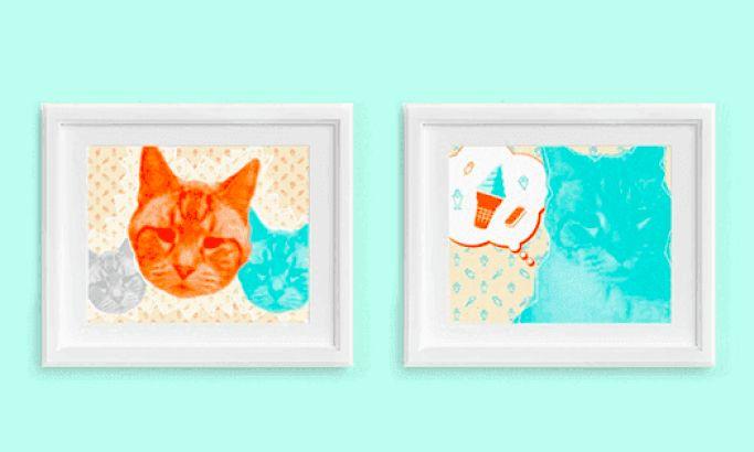 Fat Cat Retro Print Designs