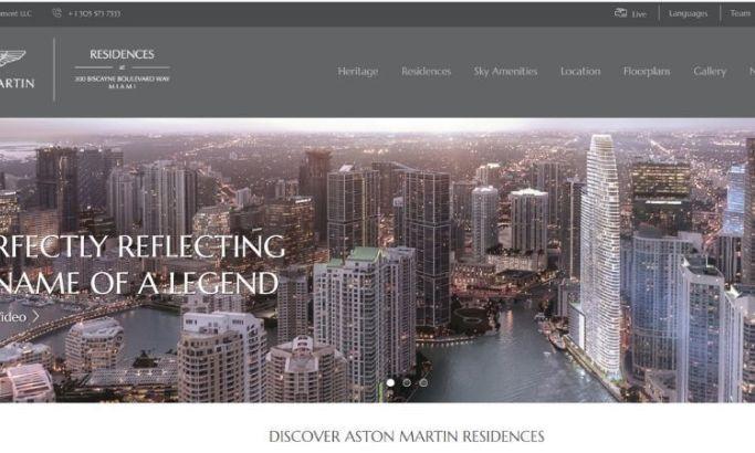 Aston Martin residences' real estate website design
