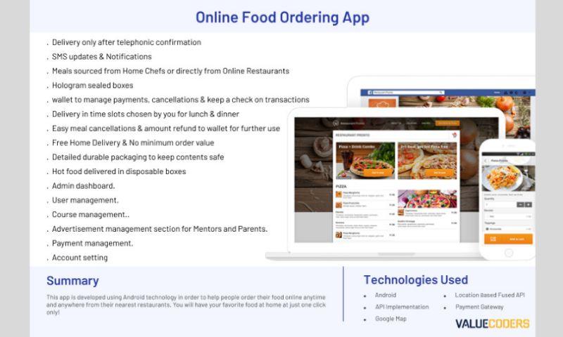 ValueCoders - Online Food Ordering App