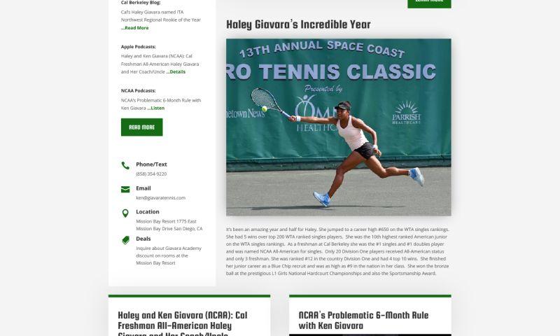 WebXd - Giavara Tennis Academy Website Redesign