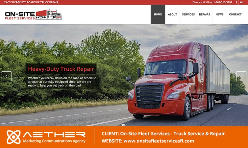 AETHER Marketing Communications - On-Site Fleet Services: Truck & Heavy Machinery Repair