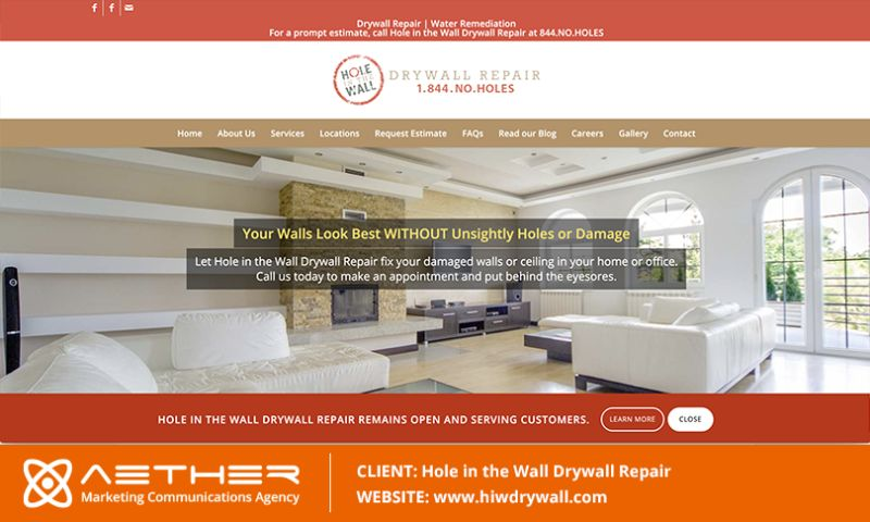 AETHER Marketing Communications - Hole in the Wall Drywall Repair in Orlando, Florida