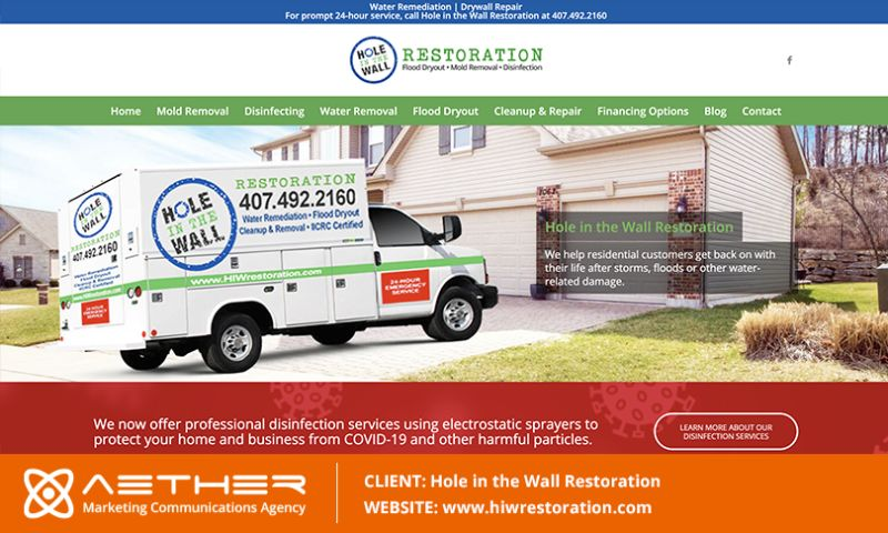 AETHER Marketing Communications - Hole in the Wall Restoration and Mold Remdiation
