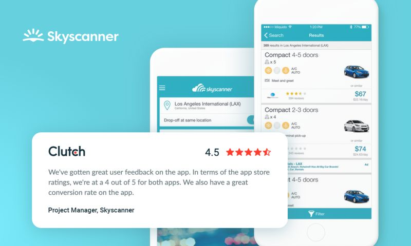 Miquido - Skyscanner Cars - car rental mobile application for travellers