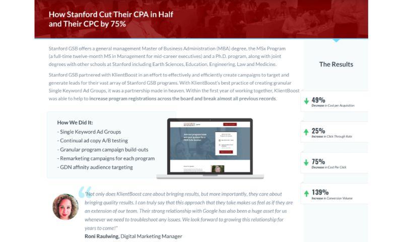 KlientBoost - Stanford University - Case Study