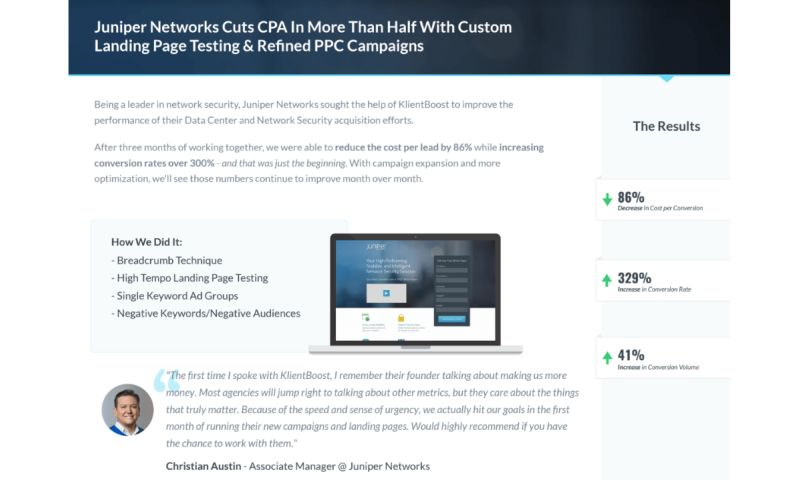 KlientBoost - Juniper Networks - Case Study