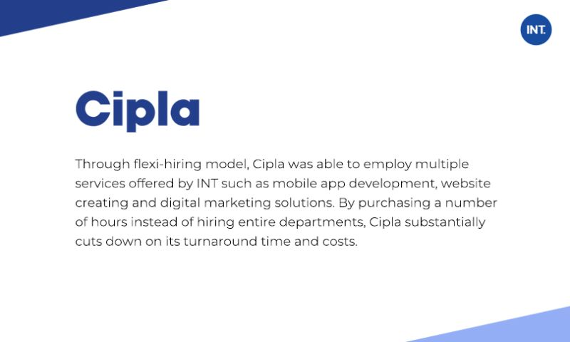 Indus Net Technologies - INT. helped Cipla to launch their doctors friendly platform with diverse tech skills in record time using its unique Flexi Hiring ™ engagement model.
