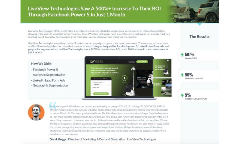 KlientBoost - LiveView Technologies - Case Study