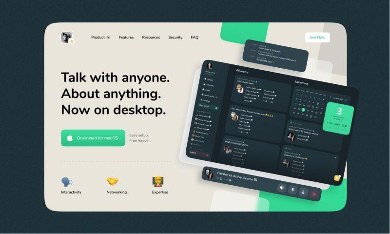 Clickable - Clubhouse — Desktop Version Concept
