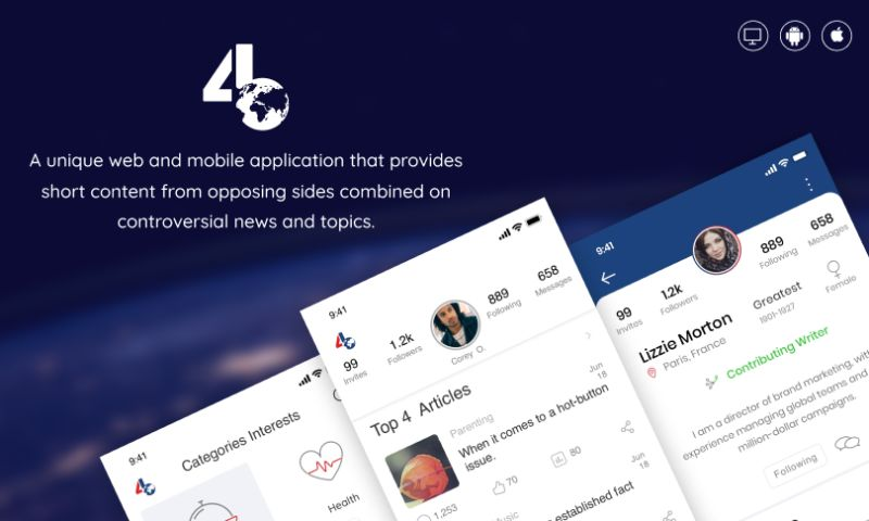 Intuz - 4B World - a fact-based real-time news sharing mobile application