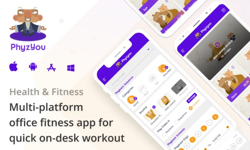 Intuz - Phyzyou - Fitness app for On-desk workout
