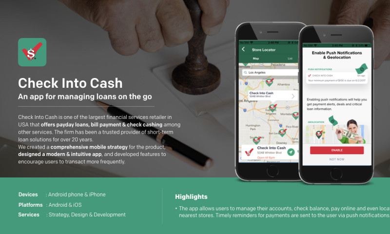 Robosoft Technologies - Check Into Cash - An app for managing loans on the go
