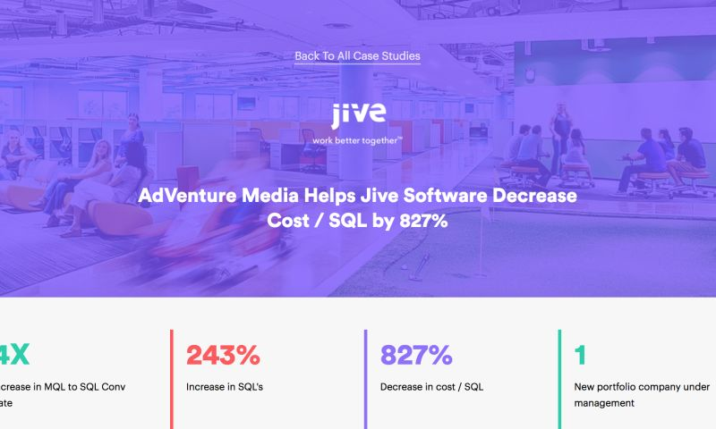 AdVenture Media Group - AdVenture Drives Down Cost / SQL By 827% for Jive Software