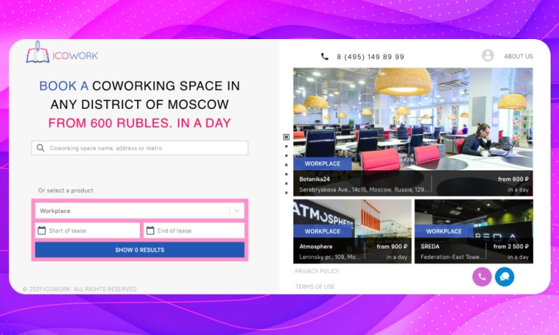 WebSailors - ICOWORK • Custom booking system