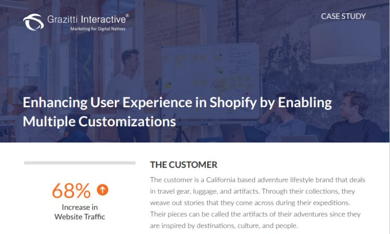 Grazitti Interactive - Enhancing User Experience in Shopify by Enabling Multiple Customizations