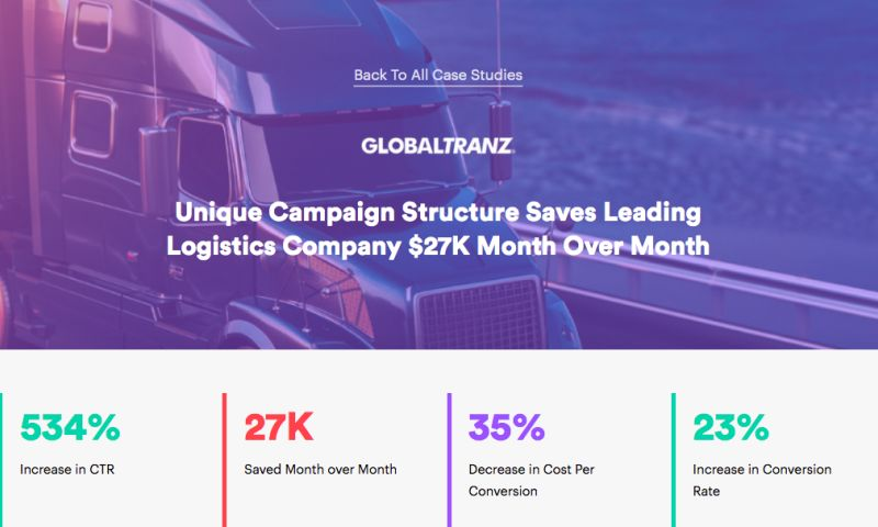 AdVenture Media Group - Unique Campaign Structure Saves Leading Logistics Company $27K Month Over Month