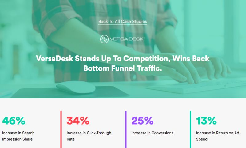 AdVenture Media Group - VersaDesk Stands Up To Competition, Wins Back Bottom Funnel Traffic.