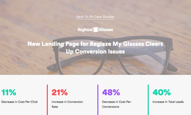 AdVenture Media Group - New Landing Page for Reglaze My Glasses Clears Up Conversion Issues