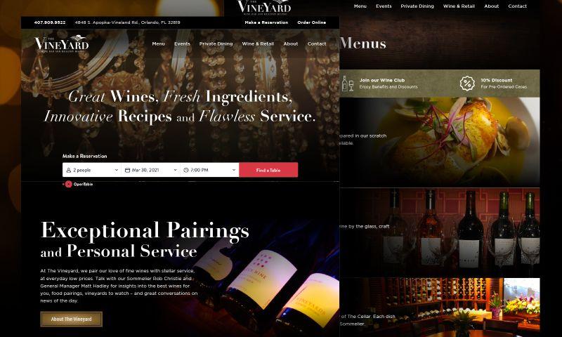 CreativeOwl - The Vineyard Wine Bar & Bistro Website Design