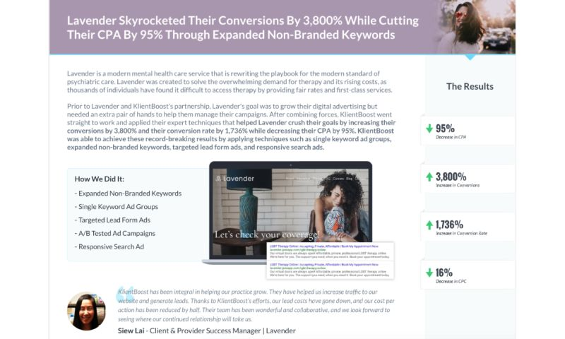 KlientBoost - Lavender - Case Study