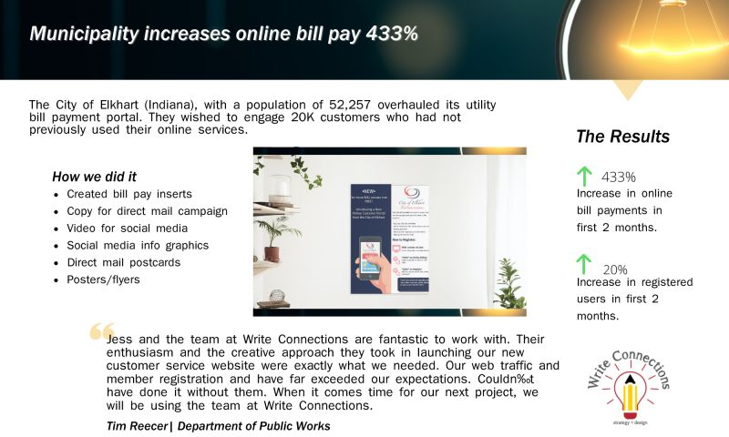 Write Connections | strategy + design, LLC. - Municipality increases online bill pay 433%