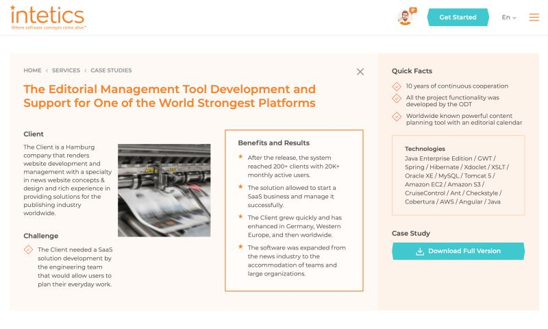 Intetics Inc - Development and Support of The Cloud-Based Multi-functional Platform for Editorial Management