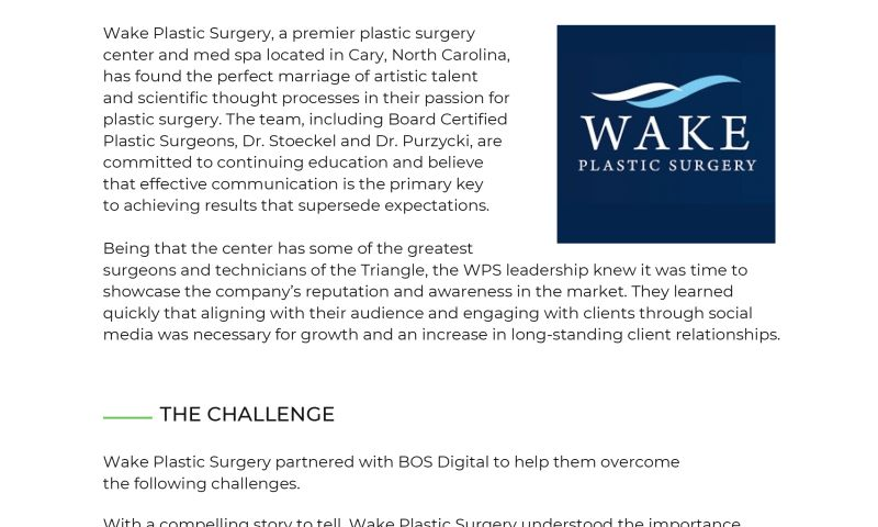 BOS Digital - How Wake Plastic Surgery Grew Organic Followers by 2.5x in Less Than 14 Months with the Help of BOS Digital