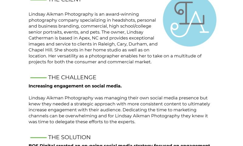 BOS Digital - How Lindsay Aikman Photography Increased Engagement by 41%