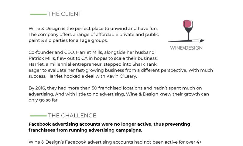 BOS Digital - How the Wine & Design Franchise Set Up Facebook Advertising for Long-Term Success with the Help of BOS Digital